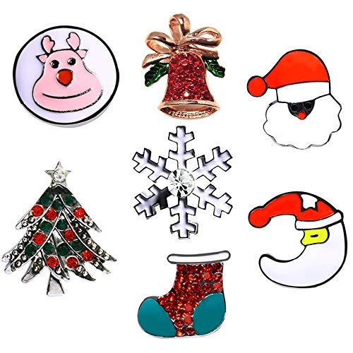 Cute Enamel Lapel Pins Sets Cartoon Animal Plant Fruits Foods Brooches Pin Badges for Clothing Bags Backpacks Jackets Hat DIY (Christmas Tree Bell Socks Deer Set of 7)]()
