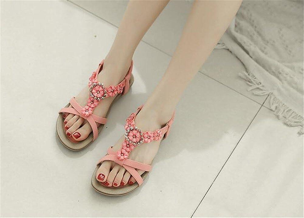 Womens Flats Sandals Suede Summer Open Toe Roman Sandals Pink 41//10.5 B M US Women