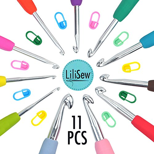 LiLiSew™ 11 Crochet Hook Set Case with 7,8mm Sizes Crochet Hooks,10 Stich Markers.Best Christmas Gift.Ergonomic