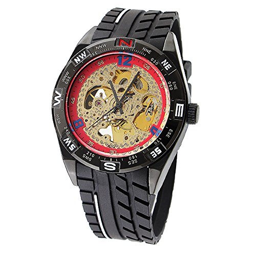 Men's Casual Black Analog Skeleton Silicone Band Mechanical Wrist Watch Military Wrist Watches