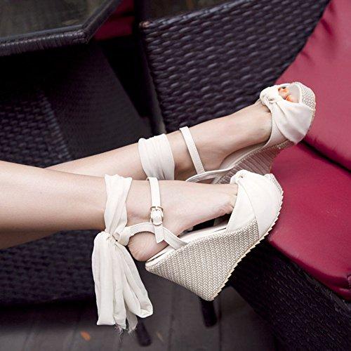 Aisun Donna Alla Moda Elegante Piattaforma Riband Sandali Con Zeppa Peep Toe Beige