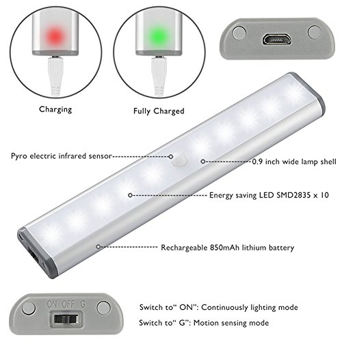 Stick-on Anywhere Portable Little Light Wireless LED Under Cabinet Lights 10-LED Motion Sensor Activated Night Light Build in Rechargeable Battery Magnetic Tap Lights for Closet, Cabinet (Silver2) by RXWLKJ (Image #2)'