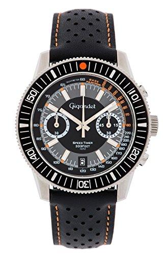 Gigandet Men's Quartz Watch Speed Timer Chronograph Analog Leather Strap Gray Black G7-004
