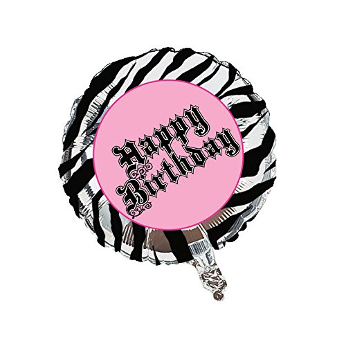 Creative Converting Super Stylish Happy Birthday Metallic Balloon, 18-Inch (Happy Halloween Pink Zebra)
