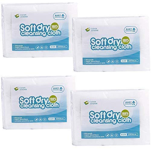 (CLEAN LEADER Natural Clean Baby Dry Wipes ,Hospital wipes,Medical standards,Baby washcloth,Large Size,Sensitive Skin,Multi-purpose dry wipes,10X13.8Inches,4 pack of 50Count,200-Total)