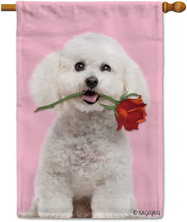 BAGEYOU Your Sweetheart Lover Dog House Flag Bichon Frise and Red Rose Floral Decor Home Banner for Outside 28X40 Inch Print Both Sides