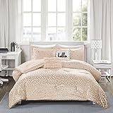 Zoey Metallic Triangle Print Comforter Set Blush/Rosegold Full/Queen
