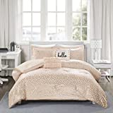 (US) Intelligent Design Zoey Metallic Triangle Print Comforter Set, Full/Queen, Blush/Rosegold