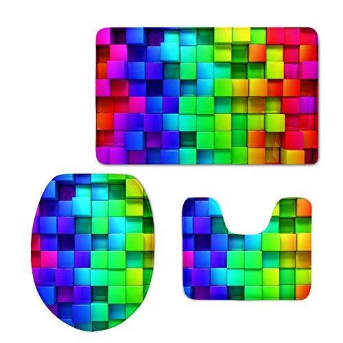 HUGSIDEA Rainbow Color Plaid Bathroom Rug Set Includes Contour Rug Lid Toilet Cover Bath Mat