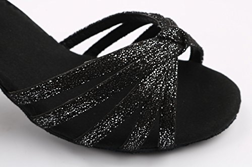 ShangYi Latin dance shoes female adult soft-soled high-heeled dance shoes precisely dance shoes Ms. Latin shoes, with height 7cm Black