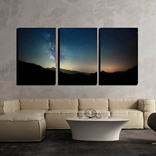 Night Sky Stars with Milky Way on Mountain Background x3 Panels