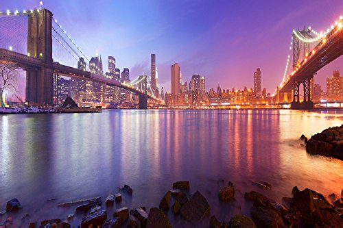 Elementem Big Canvas Wall Art - Between the Bridges, NYC Photo Print - 24 (H) x 36 (W) inches, Ready to Hang Frameless Contemporary Statement Wall Art, Wall Mounted City - Spring Nyc Street