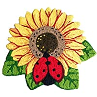 MAXYOYO Sunflower Area Rugs Hand-embroidered Floor Mats Personalized Custom Carpets Sunflower Imprint Anti-slip Mat Pastoral style carpet