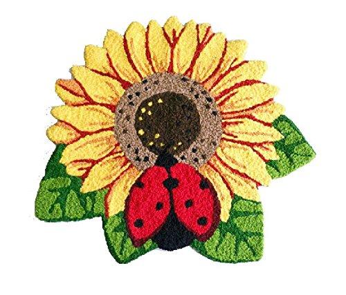 YOYOMALL Sunflower Area Rugs Hand-embroidered Floor Mats Personalized Custom Carpets Sunflower Imprint Anti-slip Mat Pastoral style carpet