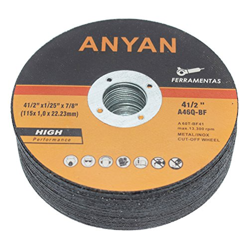 (Anyan Ultra-Thin Cut-Off Wheel | Highly-Efficient 4.5-Inch Cutting Disc for Metal & Stainless Steel | Ultra-Thin & Long-Lasting | Minimal Vibration & Heat Buildup | Pack of 25 Cutting Discs )