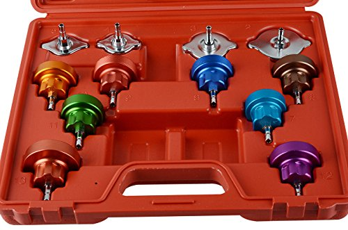 YOLO Stores - 14pcs Radiator Cooling System Pressure Tester Head Gasket Water Tank Leak Adapter Universal Kit by YOLO Stores (Image #1)
