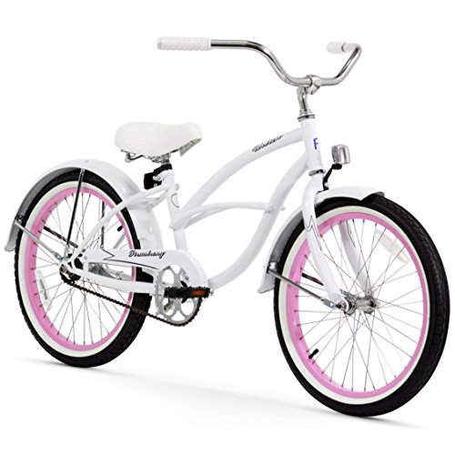 Firmstrong Urban Girl Single Speed Beach Cruiser Bicycle, 20-Inch, White w/ Pink Rims