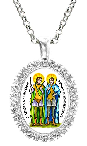 St Sergius & St Bacchus Patrons of Homosexuality Cz Crystal Silver Necklace Pendant Bacchus Crystal