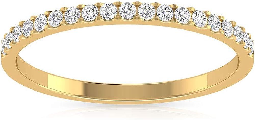 Anillo de aniversario de boda con diamante certificado IGI de 0,23 quilates, Pave IJ-SI Diamond media eternidad, anillo de novia para mujer, promesa de cumpleaños, 18K Oro