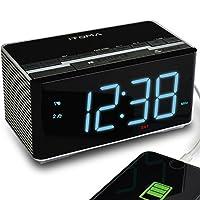 Radio reloj despertador iTOMA con altavoces estéreo inalámbricos Bluetooth, radio FM digital, alarma dual con repetición, atenuador automático, carga USB del teléfono celular (CKS3501BT)