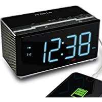 iTOMA Alarm Clock Radio with Wireless Bluetooth Stereo Speakers,Digital FM Radio,Dual Alarm with Snooze,Auto Dimmer,Cell Phone USB Charging (CKS3501BT)