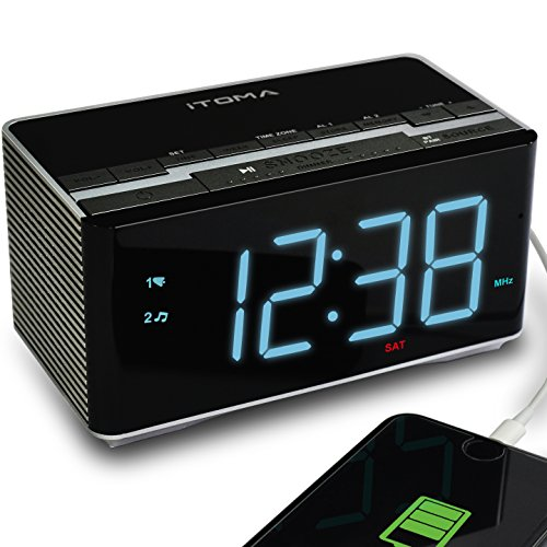 iTOMA Alarm Clock Radio Wireless Bluetooth Stereo Speakers,Digital FM Radio,Dual Alarm Snooze,Auto Dimmer,Cell Phone USB Charging (CKS3501BT) by iTOMA