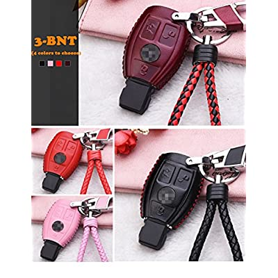 WAFERN Genuine Leather Key Case Cover Shell for Mercedes-Benz 3-Button Keyless Entry Remote Control Smart Car Key Protection Fob Skin Cover Etui with Braided Key Chain & Key Rings in Pink: Home & Kitchen