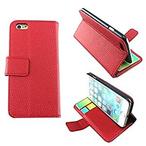 Litchi PU Leather Cover with Card Slot for iPhone 6 ,Color:Red Protective Smartphone Shell