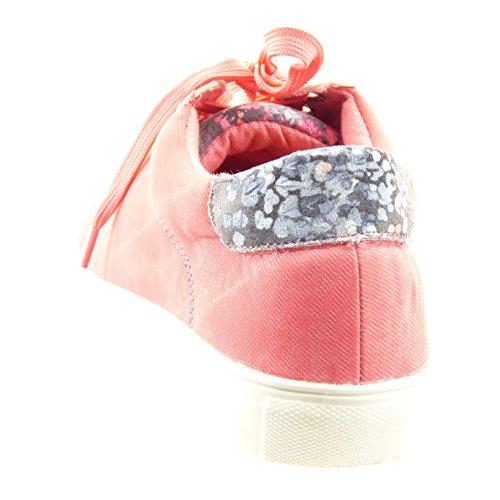 Sopily - Chaussure Mode Baskets Cheville femmes fleurs Talon bloc 2.5 CM - Intérieur synthétique - Rose