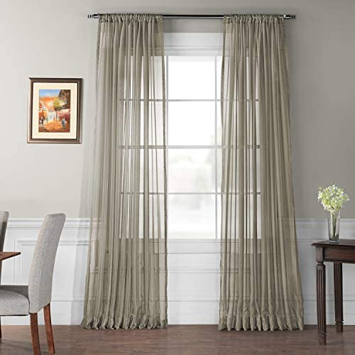 HPD Half Price Drapes SHCH-VOL6-120-SLDW Extra Wide Solid Voile Poly Sheer Curtain 1 Panel