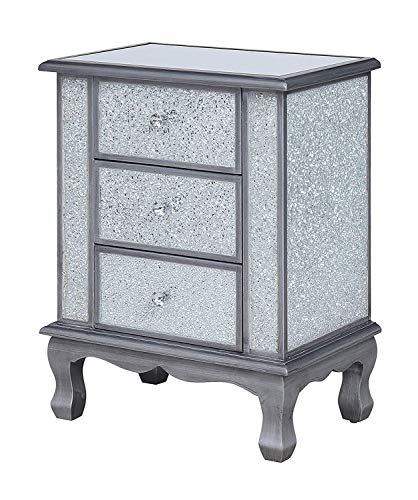 Convenience Concepts Gold Coast Vineyard 3-Drawer Mirrored End Table, Silver/Cracked Glass, Antique (Glass Tables End Silver And)