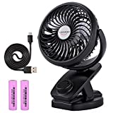 use fan - ADDSMILE Battery Operated Fan, Clip On Fan, Portable Rechargeable Desk Fan for Baby Stroller, Car Gym Home Office Outdoor Traveling and Camping Black