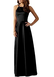 Hatail Halter Prom Dresses 2018 Long Satin A-Line Backless Evening Formal Party Gowns