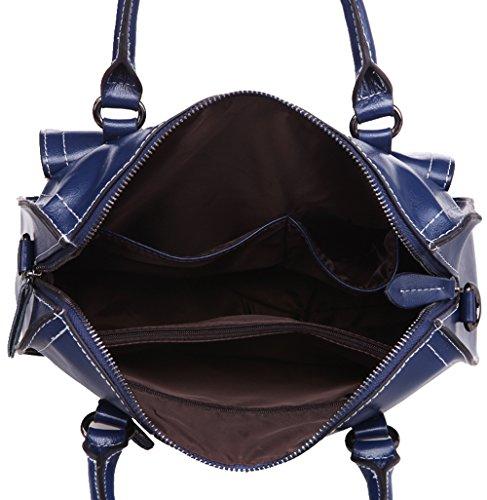 Simple souple Saphir De à Bleu Femmes Fourre SAIERLONG bruni D'épaule Sac de Sac surface tout sac Main moto Vache Cuir wvX4HvqT