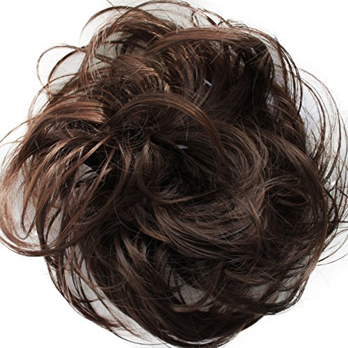 PRETTYSHOP Scrunchie Bun Up Do Hair piece Hair Ribbon Ponytail Extensions Wavy Curly or Messy Various Colors( brown mix 4T30)