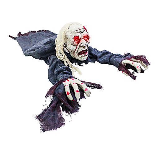 Halloween Haunters Animated Crawling Zombie Torso Groundbreaker with Moving Body LED Eyes Prop Decoration - Scary Spooky Ghoul Face - Haunted House Graveyard Tombstone, Party Display