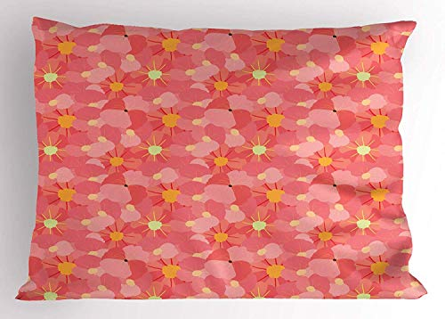 MTDKX Flower Pillow Sham, Overlapping Fresh Spring Flowers in Pale Pink Coral Tones Reviving Nature Theme, Decorative Standard Queen Size Printed Pillowcase, 30 X 20 Inches, Multicolor ()