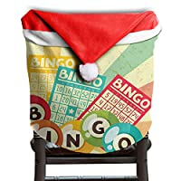 """GULTMEE Santa Hat Chair Covers Christmas seat Cover Dinner Decorations,Bingo Game with Ball and Cards Pop Art Stylized Lottery Hobby Celebration Theme,19.6"""" X 15.7"""""""