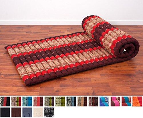 leewadee-roll-up-thai-mattress-79x30x2-inches-kapok-fabric-red-premium-double-stitched