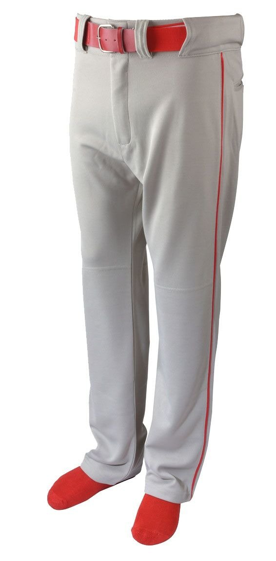 Martinスポーツ大人用野球/ソフトボールベルトループパンツ、グレーwith Color Piping B079Z1B6B3 Adult Large|Red Piping Red Piping Adult Large