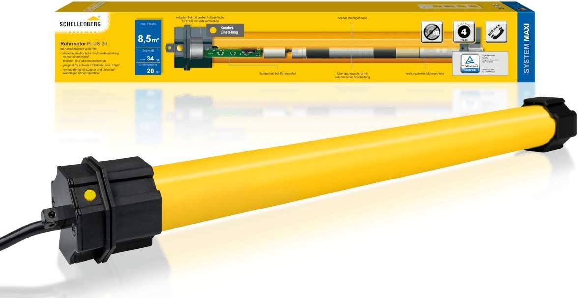 Komplettset inkl Wandlager SW 60 // Zugkraft 34 kg Schellenberg 20720 Rolladenmotor Maxi Plus 20 Nm elektronische Endlageneinstellung bis 8,5 m/² Fl/äche Rohrmotor f/ür 60 mm Welle