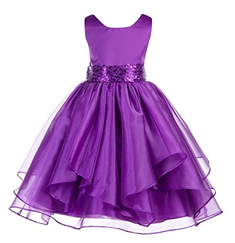 - ekidsbridal Asymmetric Ruffled Organza Sequin Flower Girl Dress Toddler Girl Dresses 012S 4 Purple