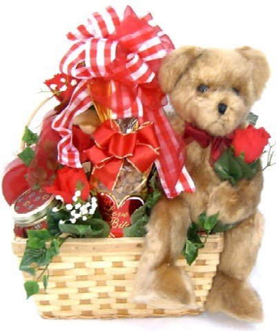 A Wonderful Love -Valentine's Day Gift Basket with Plush Bear Cookies, and Chocolates by Organic Stores
