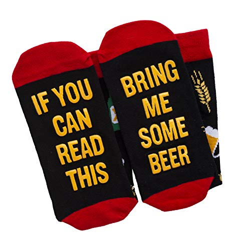 If You Can Read This Bring Me Socks - Beer, Wine, Bacon, Taco, Tea - Funny Socks for Novelty Gift - Men & Women (Beer)