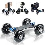 Selens Video Track Rail Stabilizer DSLR Camera Dolly Skater Tabletop Mobile Rolling Slider Car for Cameras Camcorder Rig (black)