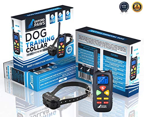 OXFORD PAWS Dog Shock Collar with Remote, [Includes Free eBOOK] 100% Waterproof Dog Training Collar with 3 Adjustable Modes, 1500 ft Range, Perfect for Large to Small Dogs.