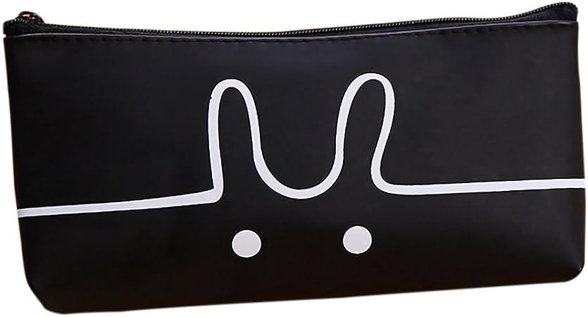 Estuche para lápices con diseño de dibujos animados de geles, color blanco y negro, gran capacidad, estuche para maquillaje, monedas, para escuela, oficina, suministros 19.5x8.5x3 black rabbit: Amazon.es: Hogar