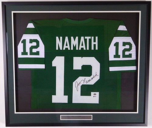 New York Jets Joe Namath Autographed Framed Green Jersey Beckett BAS