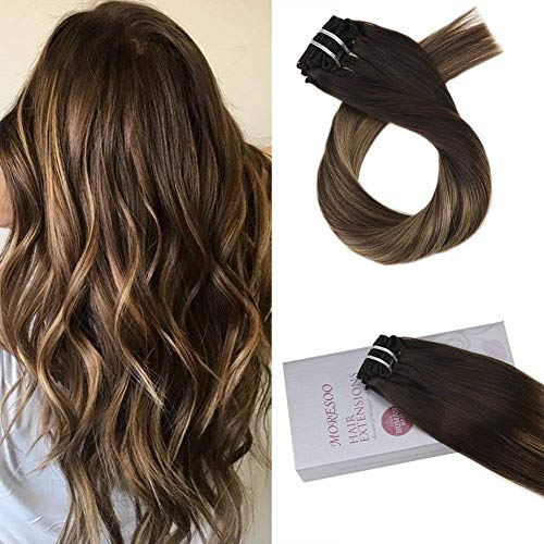 Moresoo 20 inch Remy Clip in Human Hair Balayage Colored Off Black #1B Fading to #3 and Caramel Blonde #27 Clip in Human Hair Extensions Full Head 7pcs 120 Grams Double Weft Human Hair Extensions
