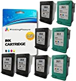 Printing Pleasure 8 XL (3 SETS + 2 BLACK) Remanufactured Ink Cartridges Replacement for HP 350XL 351XL Photosmart C4280 C4380 C4480 C4485 C4580 C5280 Deskjet D4260 D4360 - Black/Colour, High Capacity
